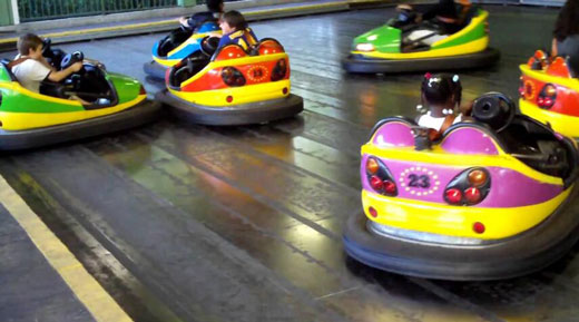 Fairground bumper cars with battery power